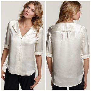 Theory Sateen Cream Blouse
